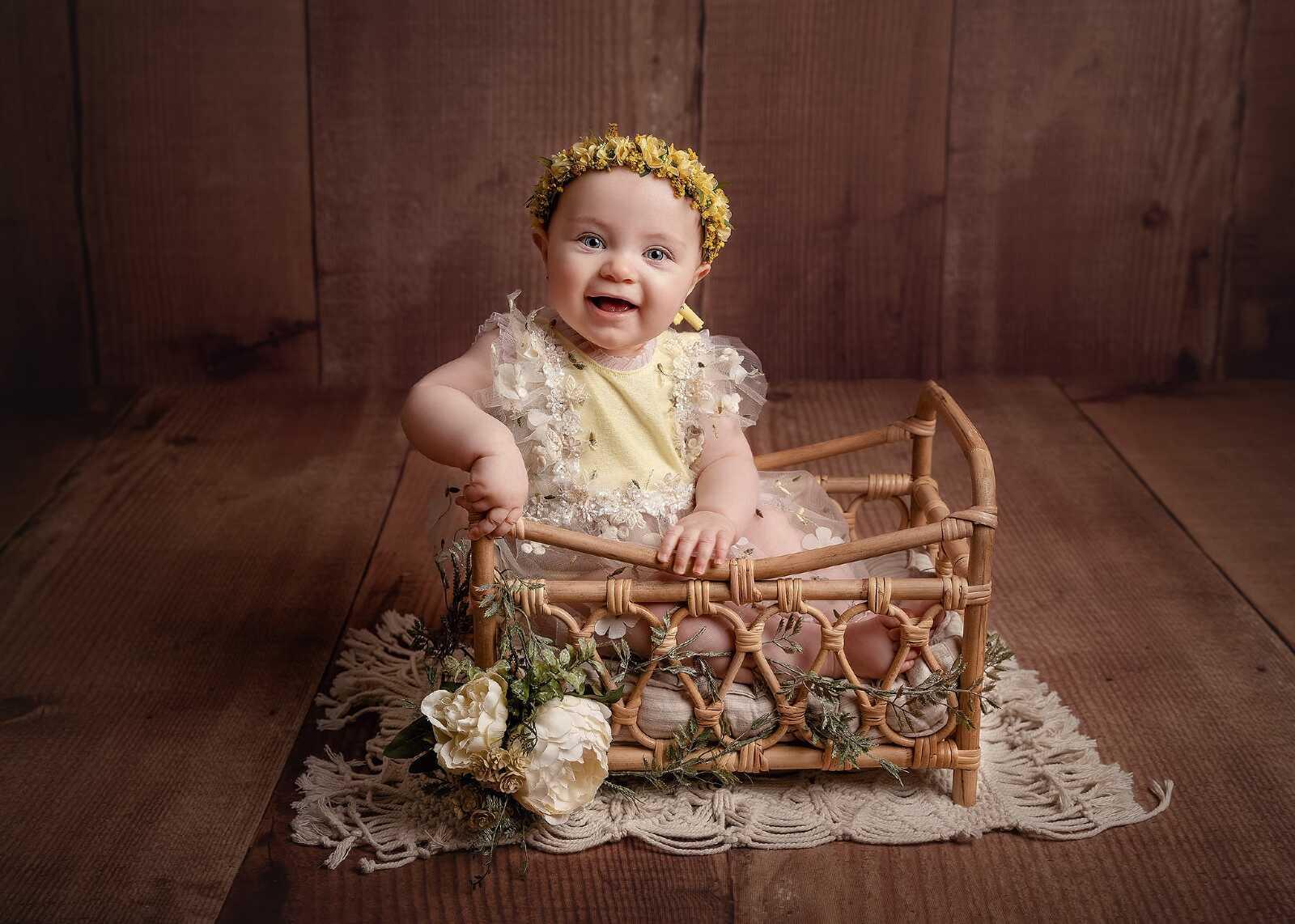 Baby girl sitter photo in studio Hereford, Herefordshire