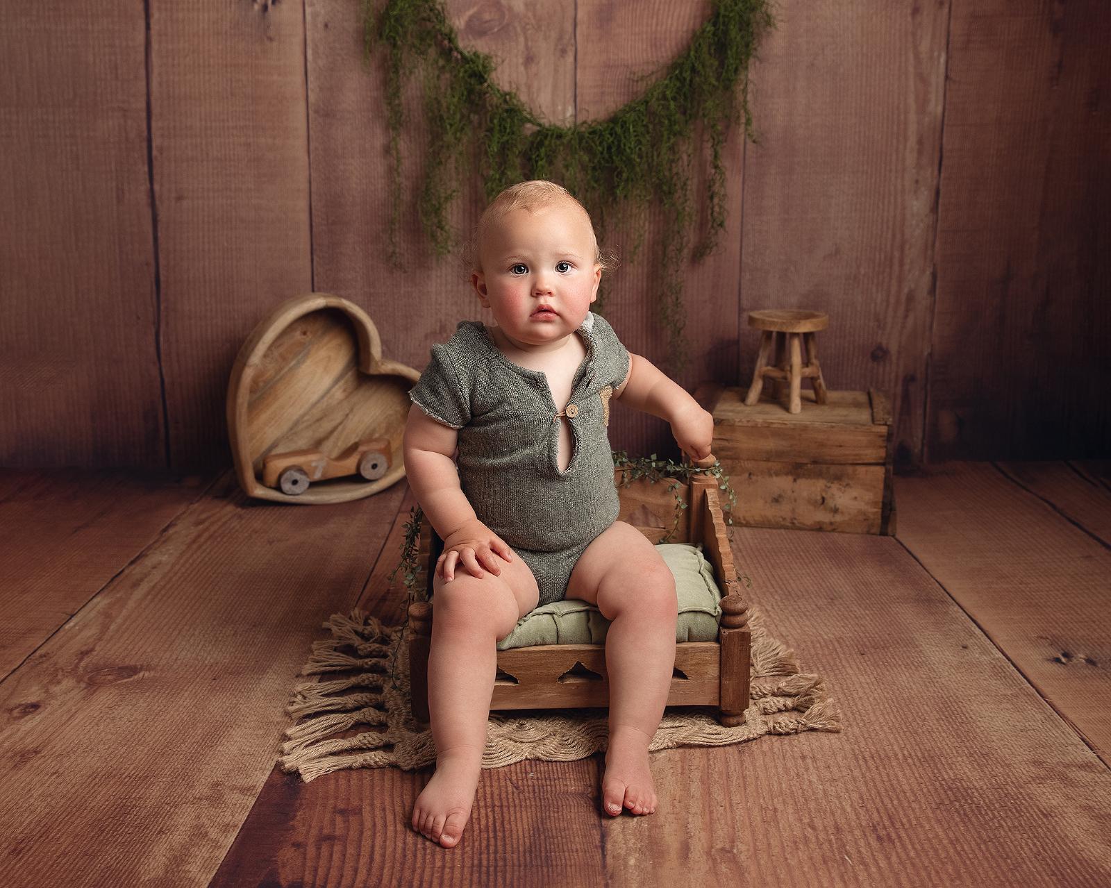 Baby boy sitter photo shoot in studio Hereford, Herefordshire