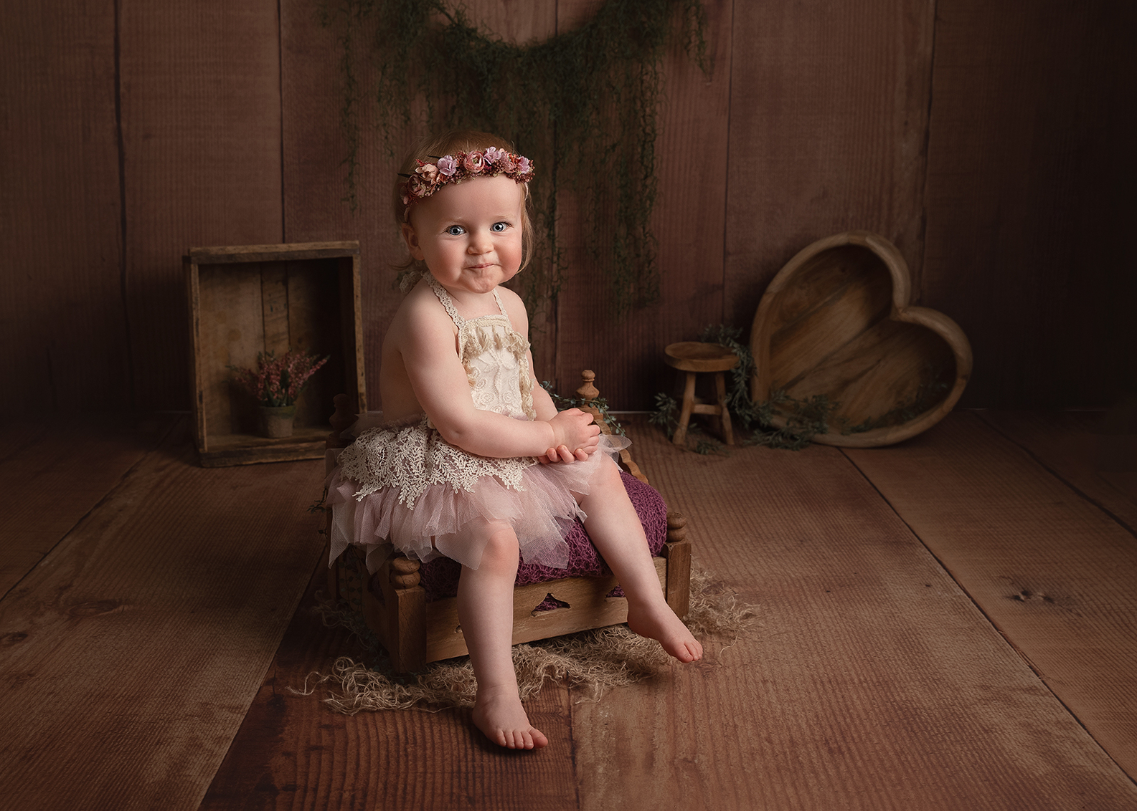 Baby girl sitter photo shoot in studio Hereford, Herefordshire